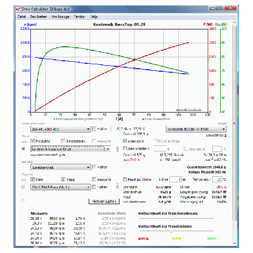 DriveCalc - Elektromodellflug Infos